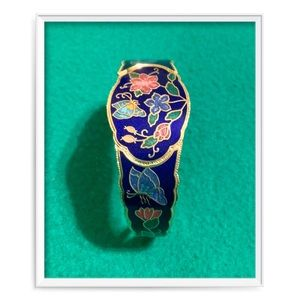 Jewelry - Colorful Cloisonné Hinged Butterfly Bracelet